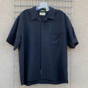 Men's Cubavera Black Embroidered Detail Shirt